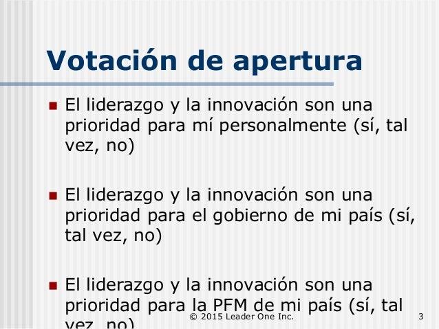 Votación de apertura  El liderazgo y la innovación son una prioridad para mí personalmente (sí, tal vez, no)  El lideraz...