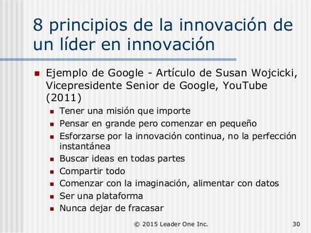 8 principios de la innovación de un líder en innovación  Ejemplo de Google - Artículo de Susan Wojcicki, Vicepresidente S...