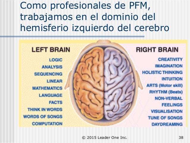 Como profesionales de PFM, trabajamos en el dominio del hemisferio izquierdo del cerebro © 2015 Leader One Inc. 38
