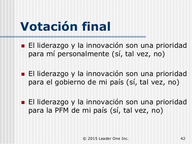 Votación final  El liderazgo y la innovación son una prioridad para mí personalmente (sí, tal vez, no)  El liderazgo y l...