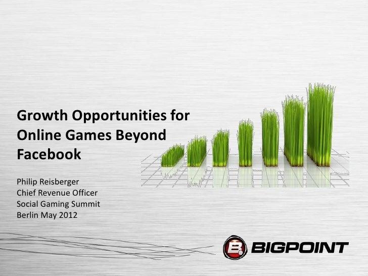 Growth Opportunities forOnline Games BeyondFacebookPhilip ReisbergerChief Revenue OfficerSocial Gaming SummitBerlin May 2012
