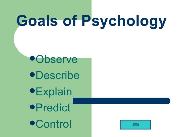 Goals of Psychology <ul><li>Observe </li></ul><ul><li>Describe </li></ul><ul><li>Explain </li></ul><ul><li>Predict </li></...