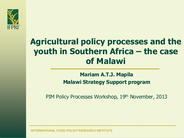 Agricultural policy processes and the youth in Southern Africa – the case of Malawi Mariam A.T.J. Mapila Malawi Strategy S...