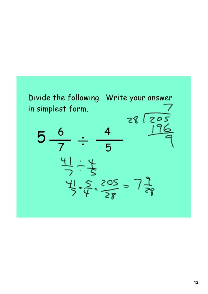 simplest form 5/12  Day 12 multiplying and dividing