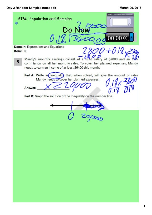 Day2RandomSamples.notebook            March06,2013      AIM: Population and Samples                                Do...