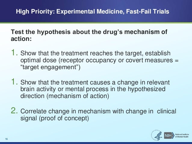 Test the hypothesis about the drug's mechanism of  action:  1. Show that the treatment reaches the target, establish  opti...