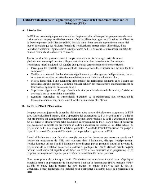 1 Outil d'Evaluation pour l'apprentissage entre pays sur le Financement Basé sur les Résultats (FBR) A. Introduction Le FB...