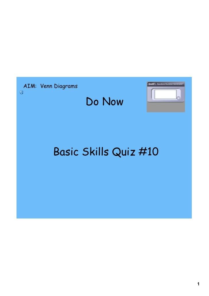 Day 2 venn diagrams numerical aim venn diagrams do now basic skills quiz ccuart Images