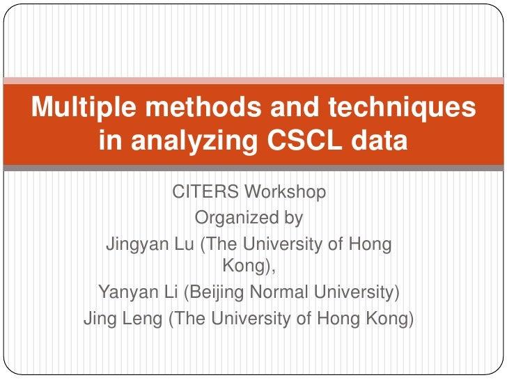 CITERS Workshop<br />Organized by<br />Jingyan Lu (The University of Hong Kong), <br />Yanyan Li (Beijing Normal Universit...