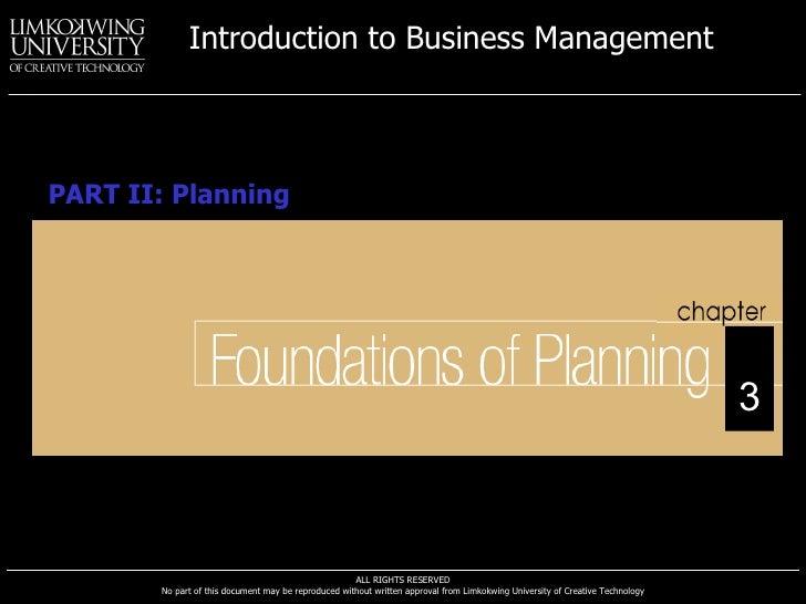 PART II: Planning 3