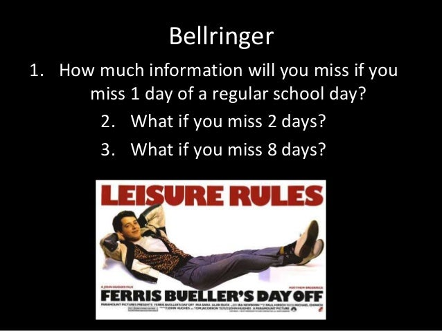 Bellringer 1. How much information will you miss if you miss 1 day of a regular school day? 2. What if you miss 2 days? 3....