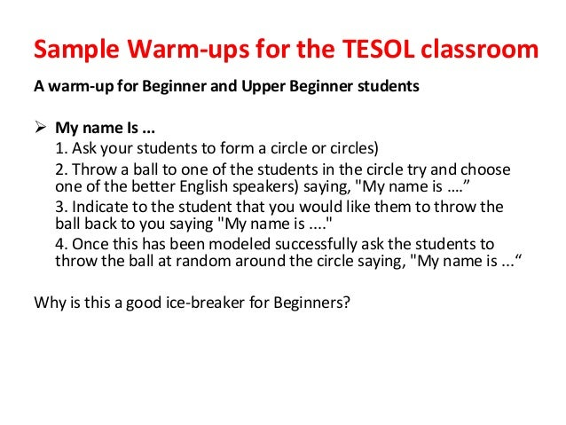 Warm-up Activities for Teaching Children in ESL Class