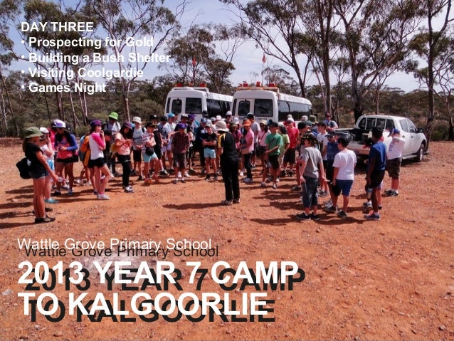 DAY THREE • Prospecting for Gold • Building a Bush Shelter • Visiting Coolgardie • Games Night  Wattle Grove Primary Schoo...