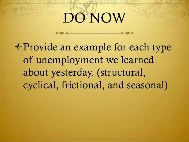 DO NOWProvide an example for each type of unemployment we learned about yesterday. (structural, cyclical, frictional, and...