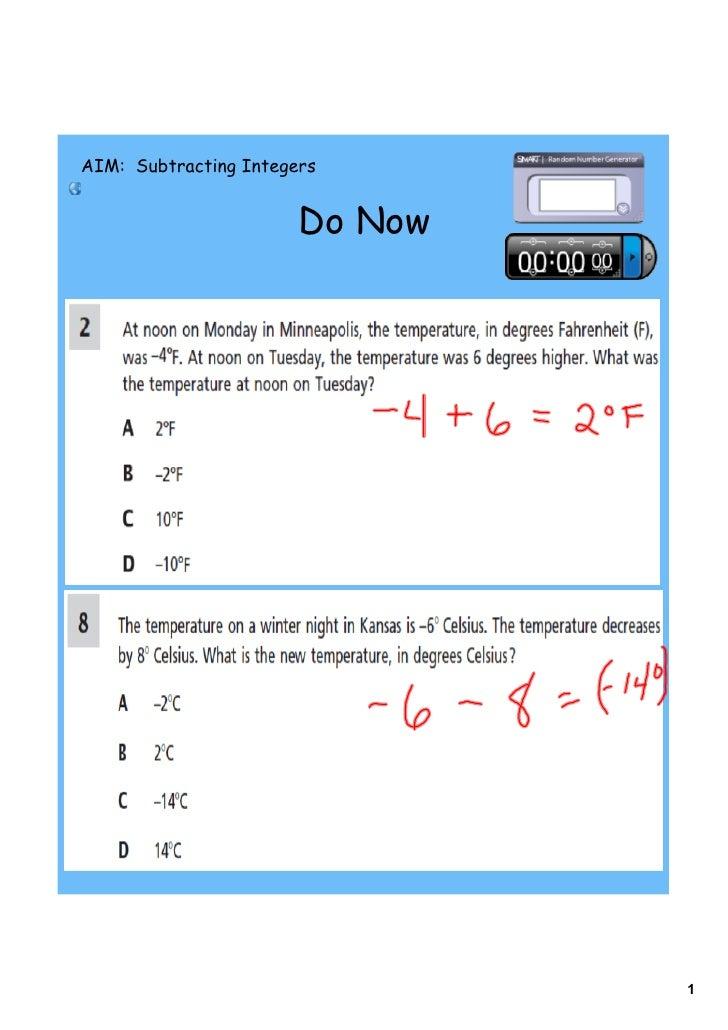 AIM: Subtracting Integers                          Do Now                                     1