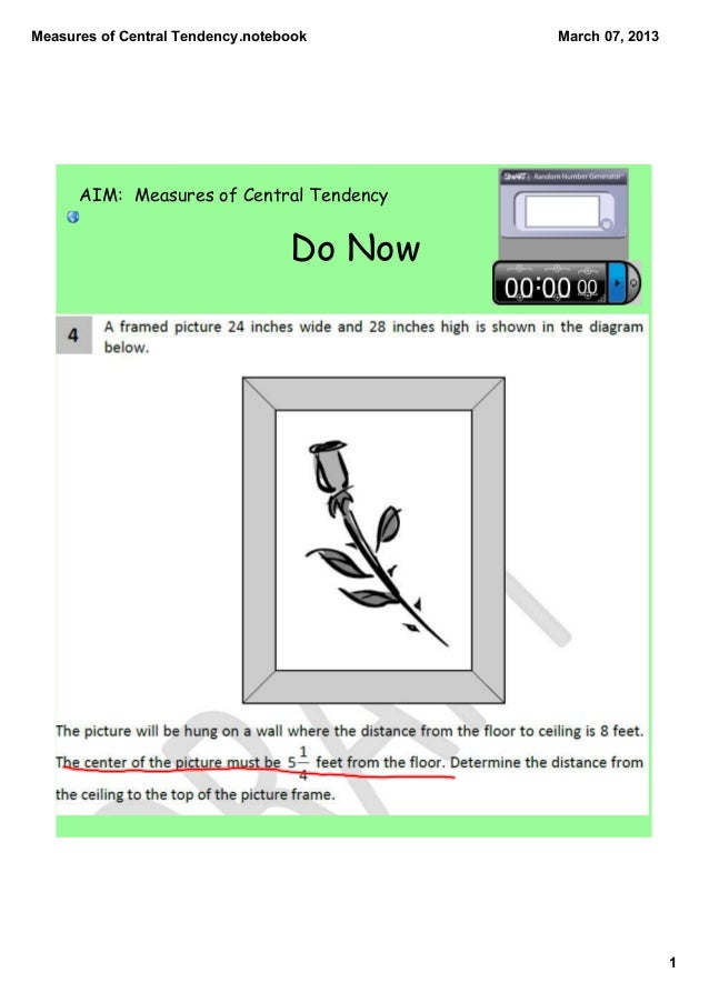 MeasuresofCentralTendency.notebook      March07,2013      AIM: Measures of Central Tendency                          ...