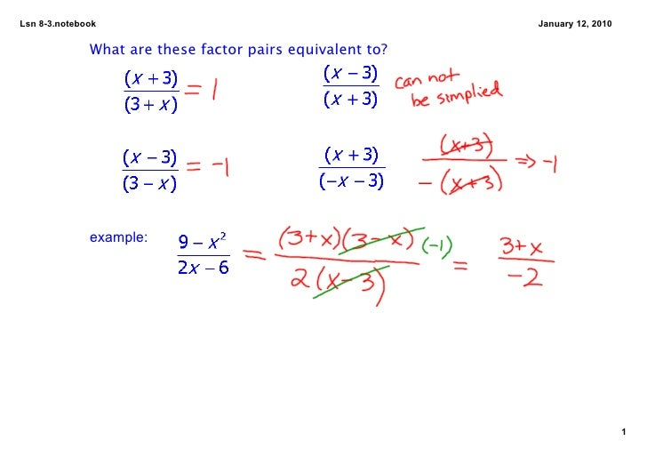 Lsn83.notebook                                           January12,2010                 What are these factor pairs eq...