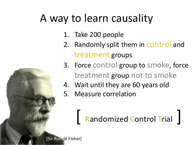 A way to learn causality          1. Take 200 people          2. Randomly split them in control and             treatment ...