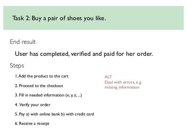 Task 2: Buy a pair of shoes you like. End result User has completed, verified and paid for her order. Steps 1. Add the prod...