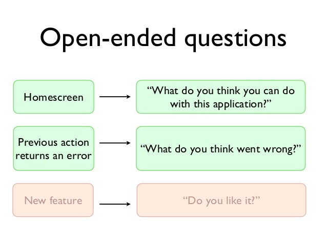 """Open-ended questions Homescreen  """"What do you think you can do with this application?""""  Previous action returns an error  ..."""