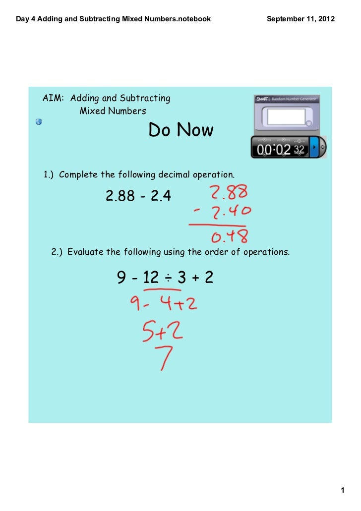 Day 4 adding and subtracting mixed numbers