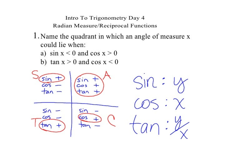 Intro To Trigonometry Day 4       Radian Measure/Reciprocal Functions 1. Name the quadrant in which an angle of measure x ...