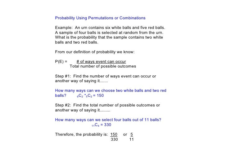 Day 144 Probability with Permutations and Combinations – Permutations and Combinations Worksheet