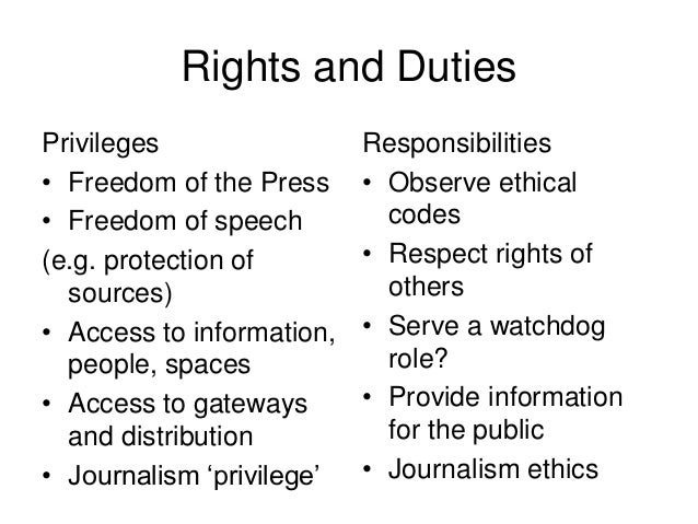 role and responsibilities of a journalist ppt