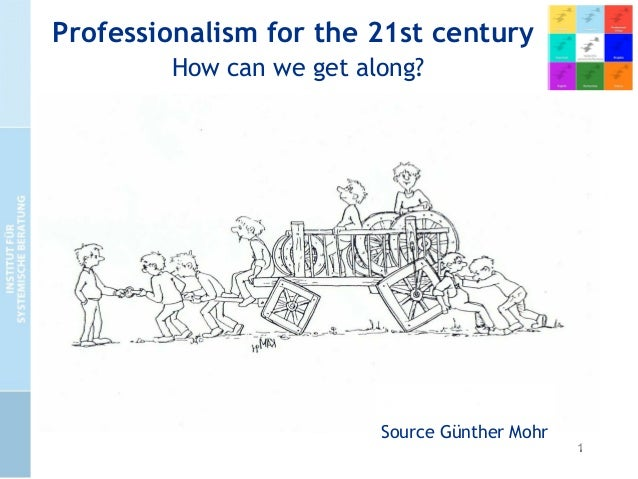 1 Professionalism for the 21st century How can we get along? • focussing on real people in real life situations • focuss...