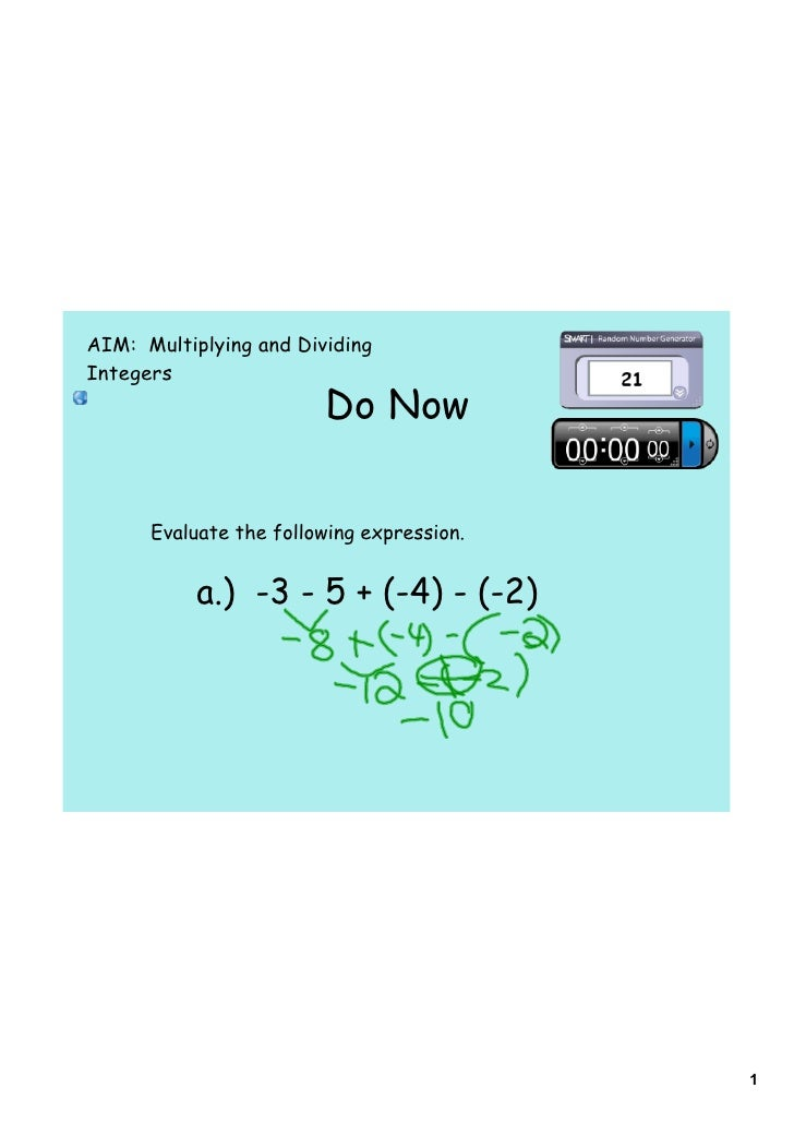 AIM: Multiplying and Dividing Integers                         Do Now         Evaluate the following expression.          ...