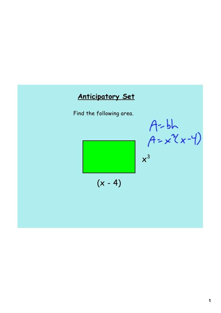 Anticipatory SetFind the following area.                           x3         (x - 4)                                1