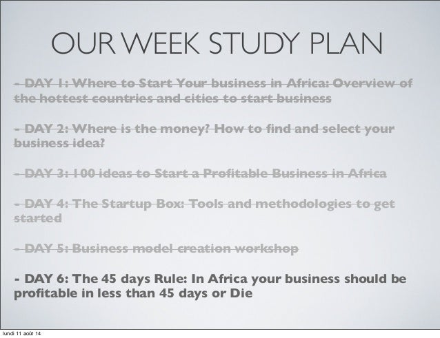5 our week study plan day