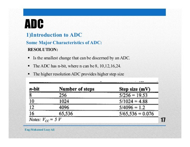 ADC 1)Introduction to ADC Some Major Characteristics of ADC: RESOLUTION:  Is the smallest change that can be discerned by...