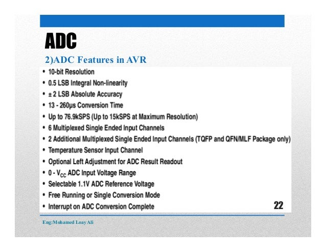 ADC 2)ADC Features in AVR Eng:Mohamed Loay Ali 22