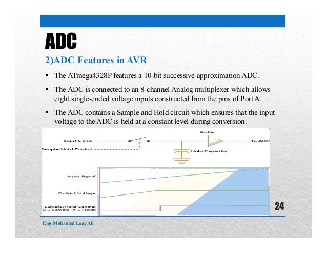  The ATmega4328P features a 10-bit successive approximation ADC.  The ADC is connected to an 8-channel Analog multiplexe...
