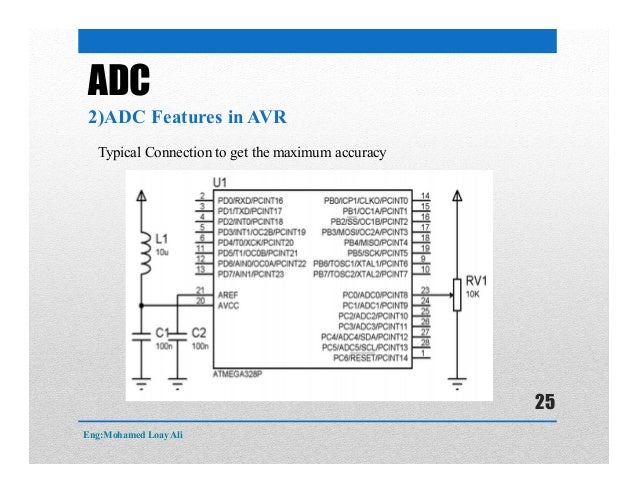 ADC 2)ADC Features in AVR Typical Connection to get the maximum accuracy Eng:Mohamed Loay Ali 25