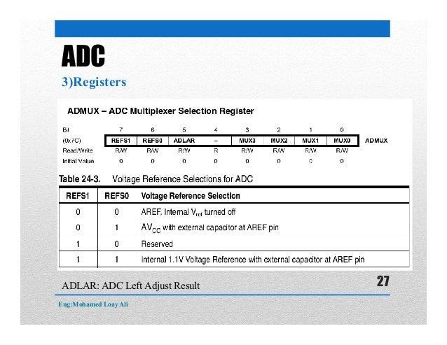 ADC 3)Registers ADLAR: ADC Left Adjust Result Eng:Mohamed Loay Ali 27