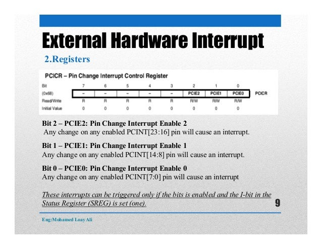External Hardware Interrupt 2.Registers Bit 2 – PCIE2: Pin Change Interrupt Enable 2 Any change on any enabled PCINT[23:16...