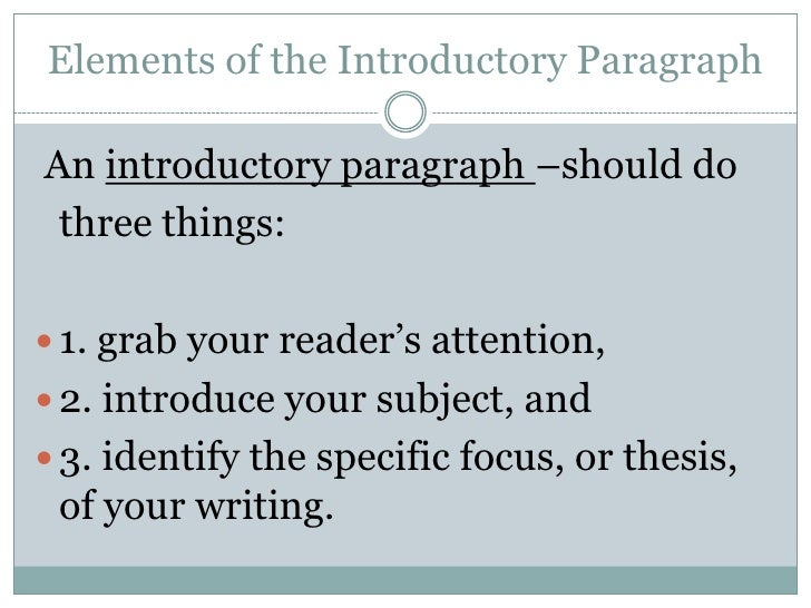 Elements of essay introduction