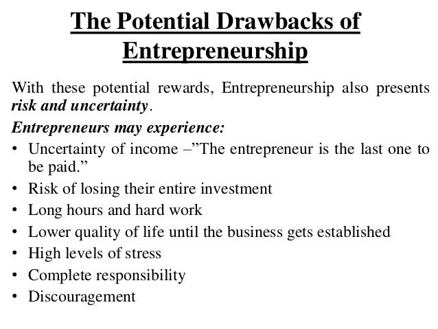 potential drawbacks of entrepreneurship