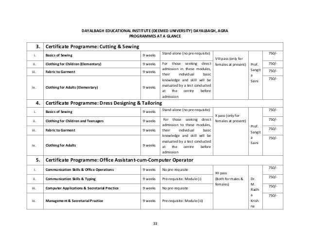 Dayalbagh Educational Institute Faculty Of Engineering Prospectus 201