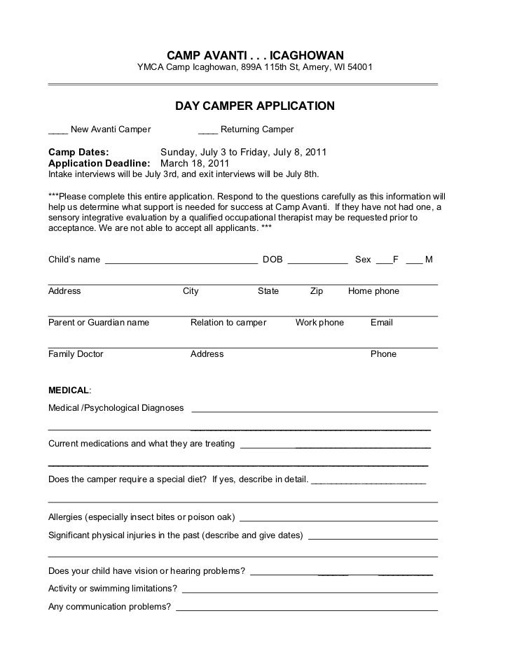 CAMP AVANTI . . . ICAGHOWAN                        YMCA Camp Icaghowan, 899A 115th St, Amery, WI 54001                    ...