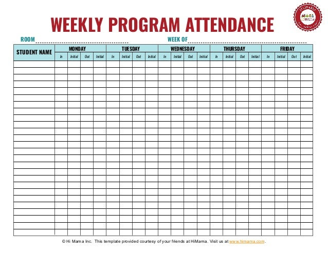 Daycare Sign In Sheet Template   Weekly. In Initial Out Initial In Initial  Out Initial In Initial Out Initial In Initial Out Initial