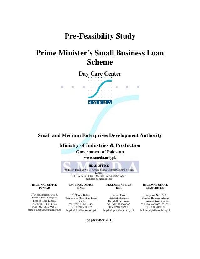 Pre-Feasibility Study Prime Minister's Small Business Loan Scheme Day Care Center  Small and Medium Enterprises Developmen...