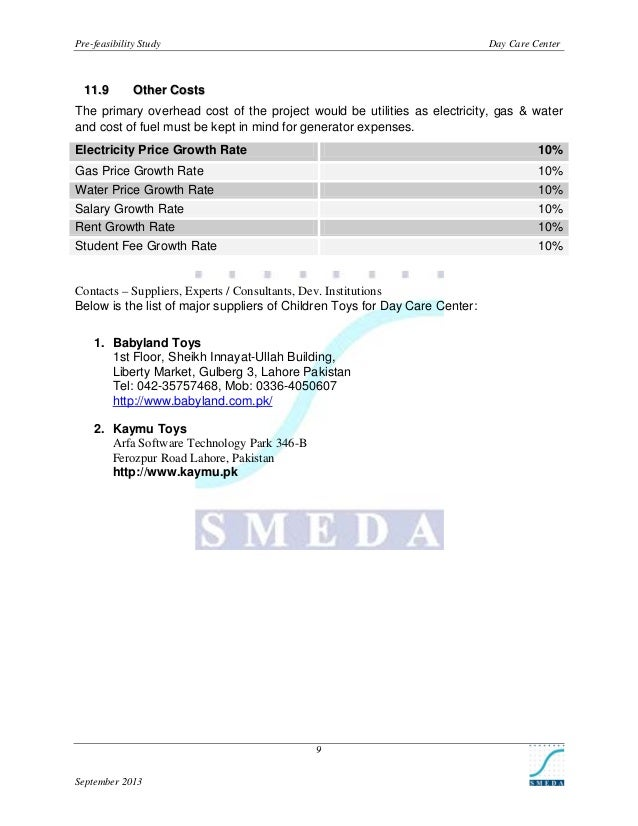 Pre-feasibility Study  1 1 .9  Day Care Center  Other Costs  The primary overhead cost of the project would be utilities a...