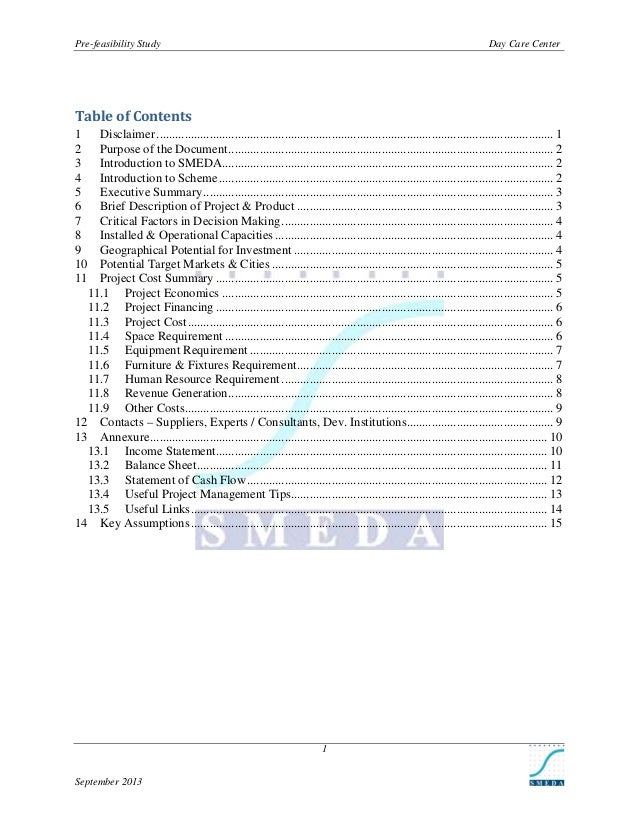 Pre-feasibility Study  Day Care Center  Table of Contents 1 2 3 4 5 6 7 8 9 10 11  Disclaimer ...............................