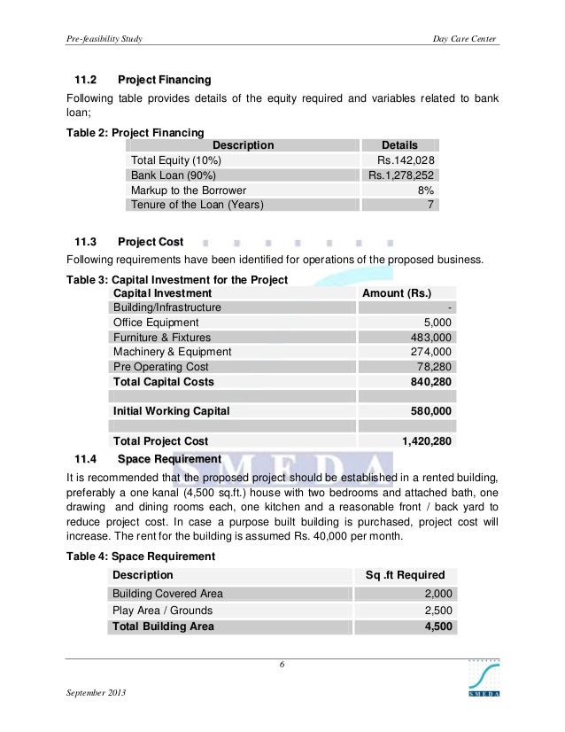 Pre-feasibility Study  1 1 .2  Day Care Center  Project Financing  Following table provides details of the equity required...