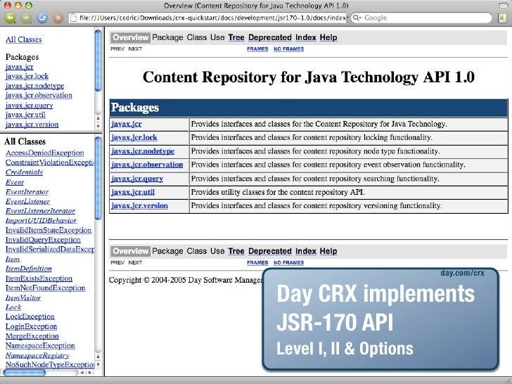 day.com/crx  Day CRX implements JSR-170 API Level I, II & Options