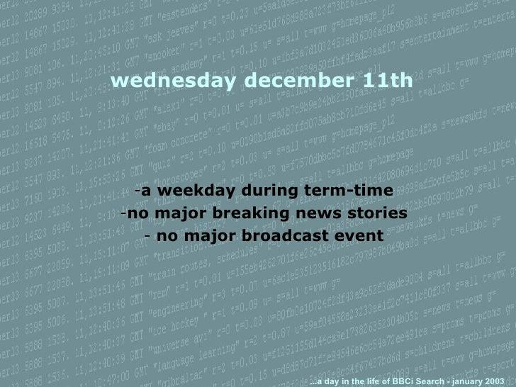 wednesday december 11th <ul><li>a weekday during term-time </li></ul><ul><li>no major breaking news stories </li></ul><ul>...