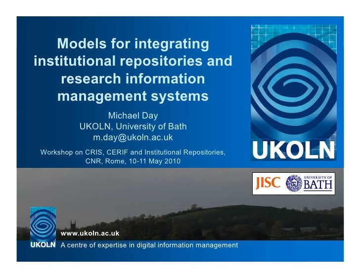 Models for integrating institutional repositories and     research information     management systems                  Mic...